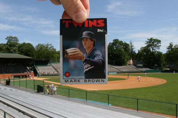 Brownie card on the mound at Doubleday Field in Cooperstown. NY